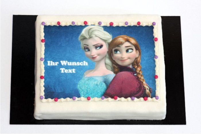 Rechteckige Eisprinzessin Torte mit Wunsch Text | Cafe Koller AG