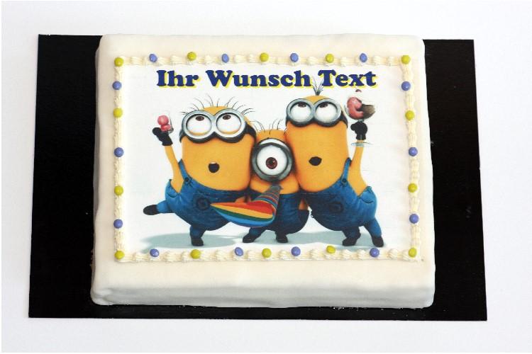 Rechteckige Minion Torte mit Wunsch Text | Cafe Koller AG