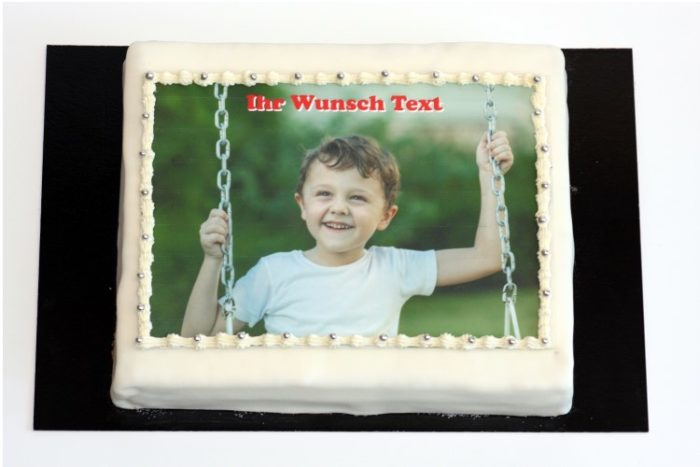 Rechteckige Torte mit Wunsch Text | Cafe Koller AG